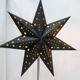 Hot Sale Golden Pattern Black Paper Star Hanging Lantern Led Light