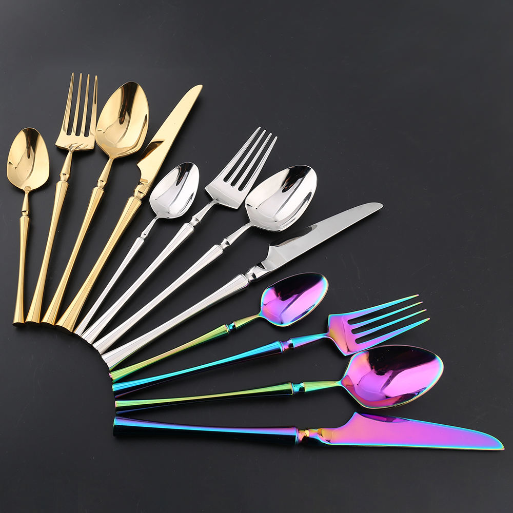 Chinese factory mirror polished canton tower waist slim stainless steel gold korean silverware flatware set
