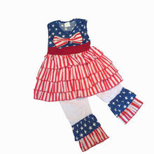 bay girls July 4th clothing girls summer outfits party clothes children Red stripe clothes set