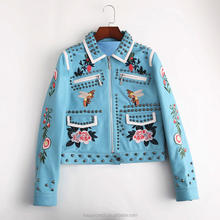 Punk Stubbed Floral Birds Embroidered Woman Leather Jacket