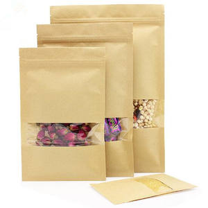 Custom empty brown kraft paper dried food packaging bags/stand up zip lock pouch bag for snack