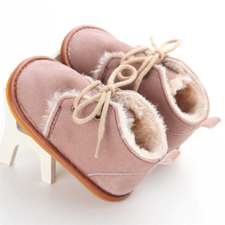 Rubber sole winter warm cotton Lace-up 0-2 years boy girl prewalker baby girl boots
