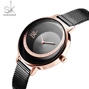 SHENGKE Brand Quartz Wrist Watches Fashion Women Casual Dress Luxury Black Mesh Watch Rhinestone Waterproof Reloj Mujer SK