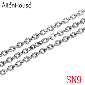 Multi sizes 풀 롤 Stainless Steel Flat Cable 체인 Oval Link Bulk 없이 Connectors, Fashion Jewelry Cable 체인