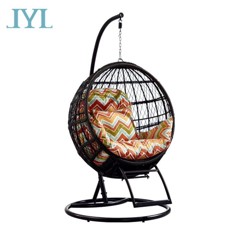 garden metal rattan hanging swing chair with aluminum frame