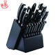 AH01 19pcs stainless steel ABS handle wooden block kitchen knife set
