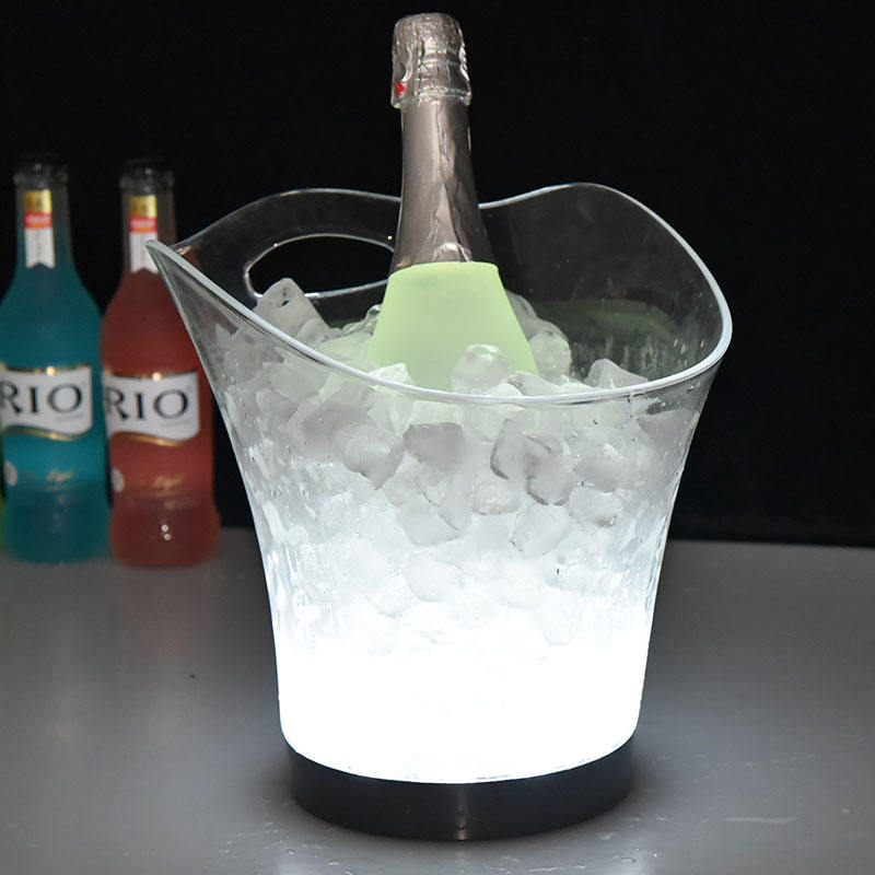 China the top manufacture plastic ice bucket led with handle for whisky vodka beer promotion