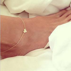 2She Wholesale latest 14k gold plated foot jewelry heart gold plated anklet chain