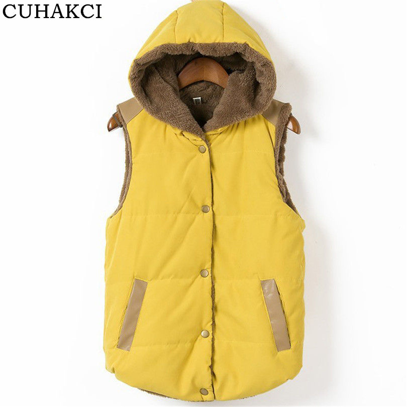 Winter Outerwear Waistcoat Women Autumn Coat Coral Cotton Leather Fleece Parkas Hooded Patchwork For Female