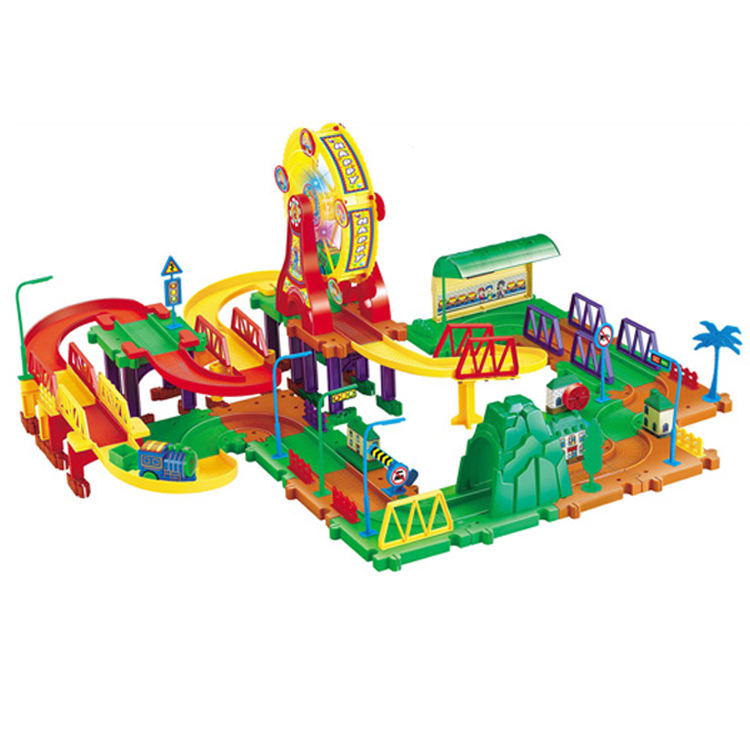 Plastic Assemble Electric Building Blocks Bricks Train Track Slot Toy With Ferris Wheel Led Light Electrical Vehicle Kid Toys