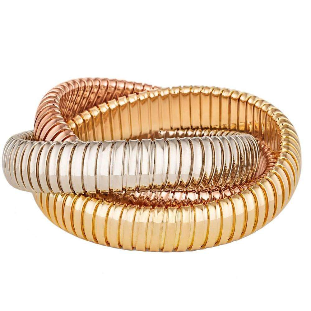 14K Gold Plated and Rhodium High Polished Double Cobra Stretch Twist Bracelets