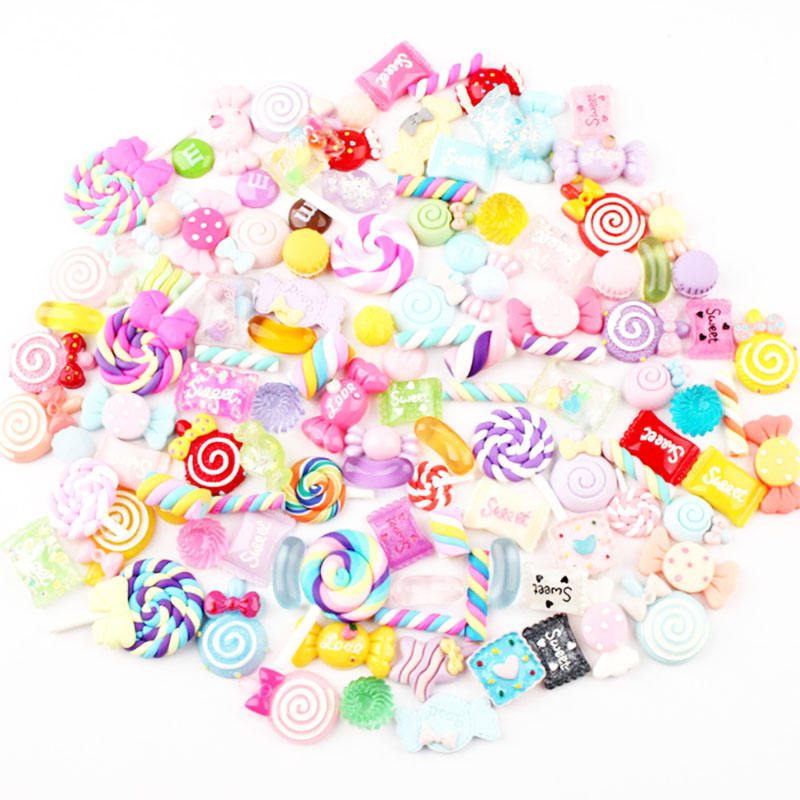DIY Assorted Shapes Super Cute Mixed Candy Sweet Resin Charms Jewelry Making For Slime Charms