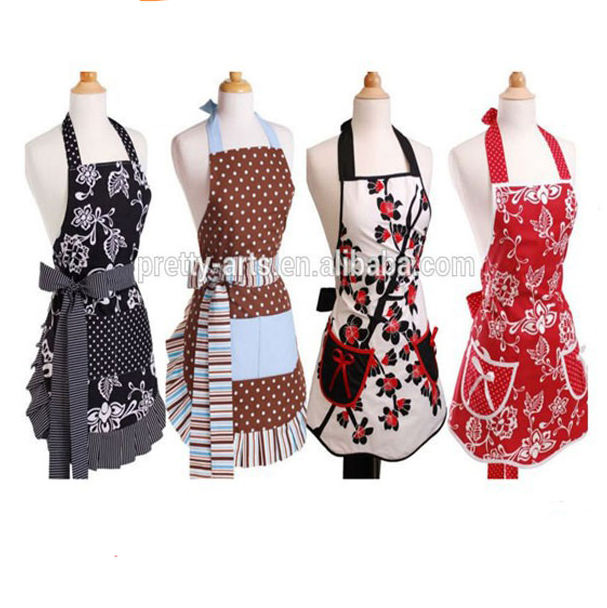 Cheap Bulk Wholesale Sexy Design Fancy Women Cotton Kitchen Apron
