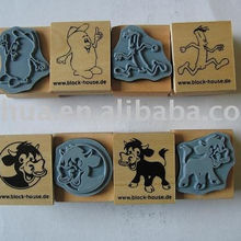 Wood mount custom rubber stamp set for children