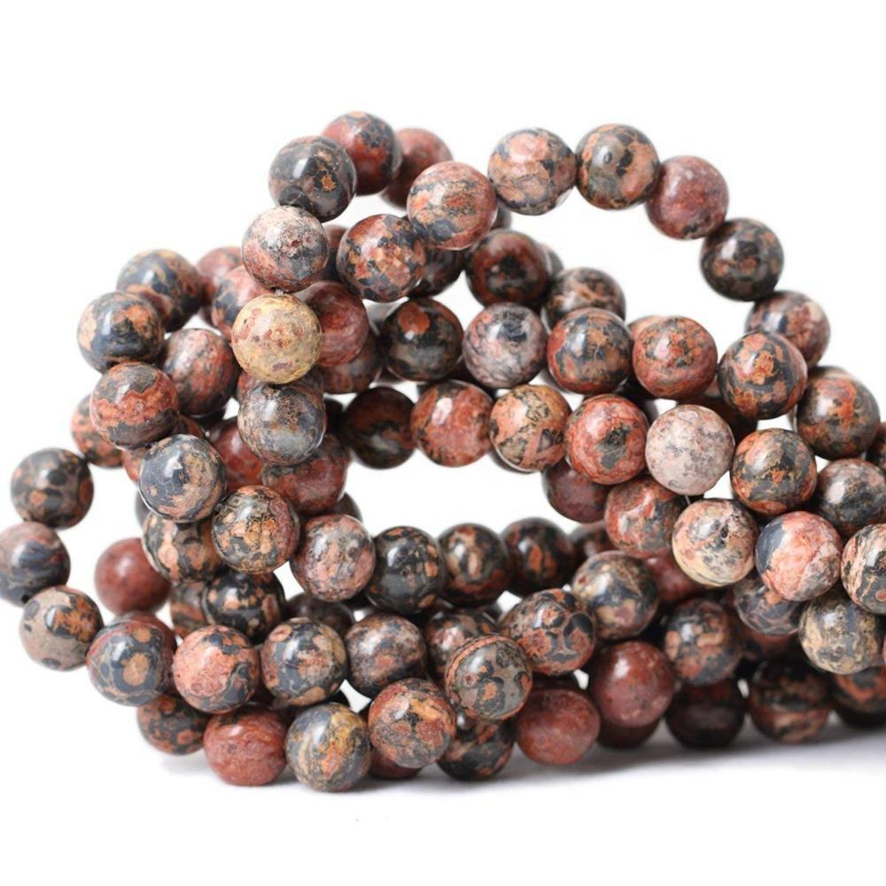 Wholesale Natural Leopard Print Jasper Gemstone Loose Beads For Jewelry Making 6mm 10mm 12mm