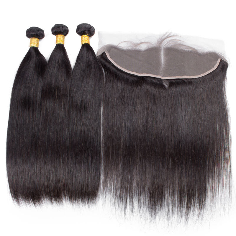 Straight Hair Bundles With Closure Brazilian Hair Weave Bundles 13x4 Lace Frontal Closure Remy Human Hair 3 Bundles With Frontal