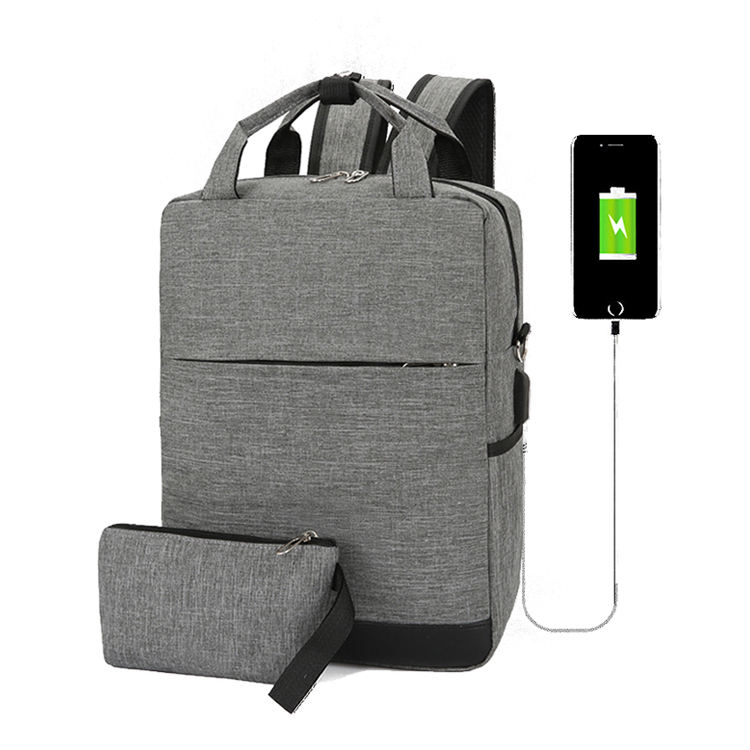 2 pcs/set business laptop backpack with high capacity USB charging