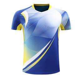 Full dye sublimation badminton tops mens table tennis shirts moisture wicking