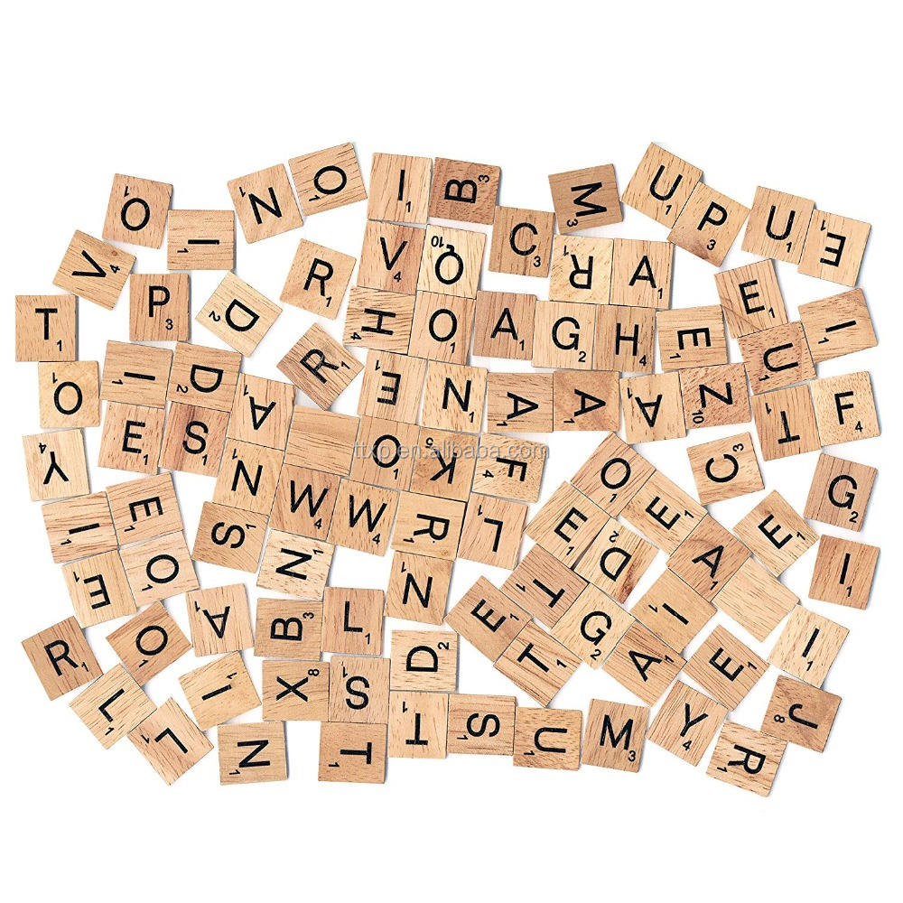 100PCS A-Z Wooden Scrabble Capital Spelling Letters For Crafts