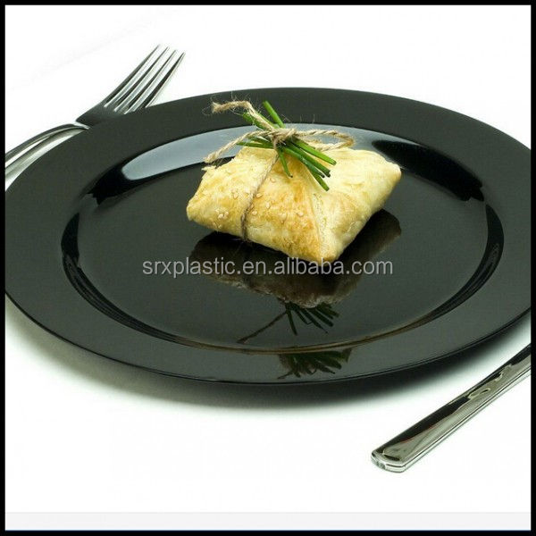 Heavy Duty Elegant PLASTIC PLATES Black stylish dinner party ware dishes,custom plastic dishes plates