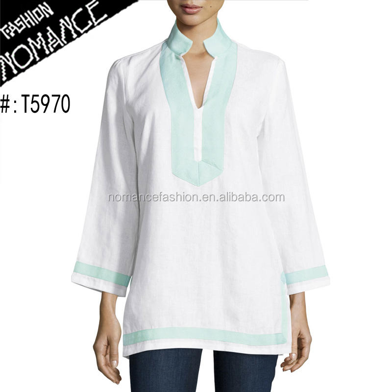 long sleeve indian india wholesale cotton white tunic tops for women