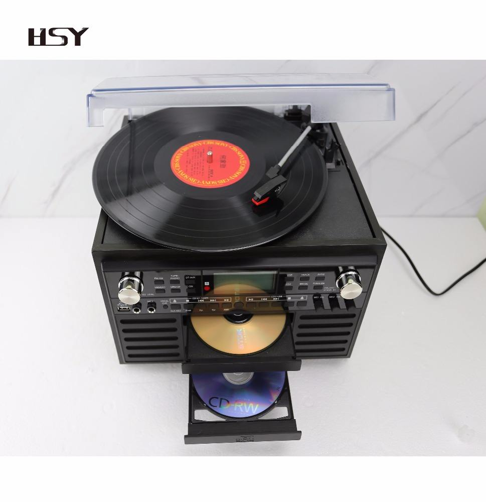Factory wholesale vinyl record player turntable Karaoke USB CD Cassette record player