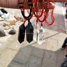 Fashion natural clear quartz crystal pendant/fengshui black obsidian pendant