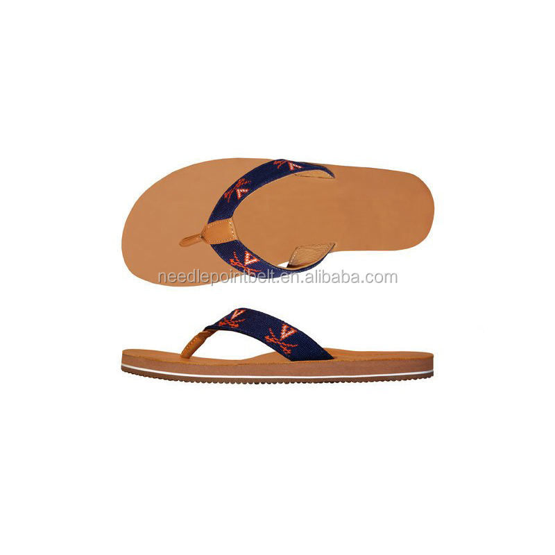 Guangzhou University of Virginia Needlepoint EVA Leather Flip Flop for Men