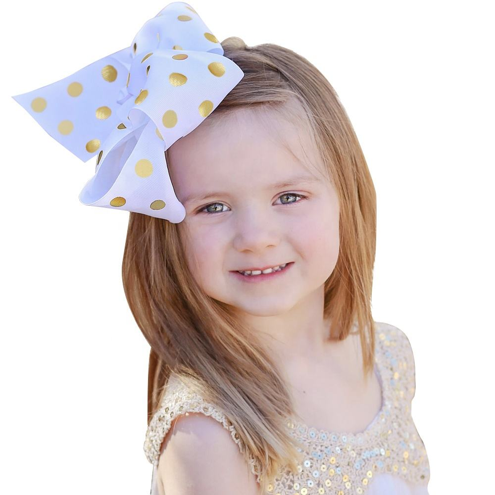 Wholesale 8Inch Grosgrain Ribbon Bows For Girls Hair,Bronzing polka dot hair bows