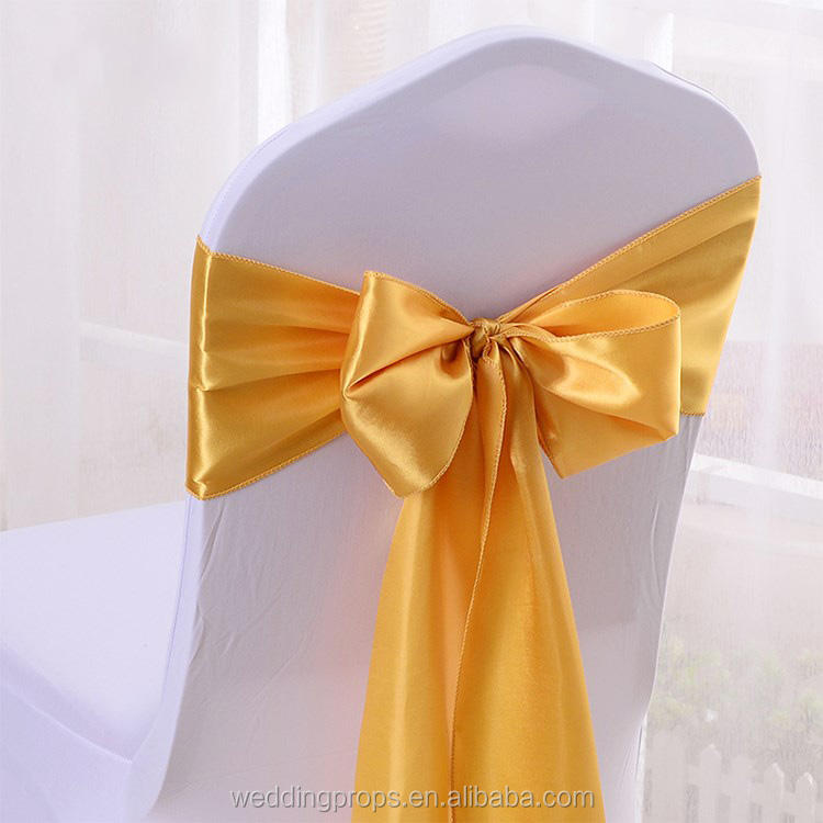 Wedding Event Decoration Gold Ruffle Satin Chair Sash For Banquet Chair Covers