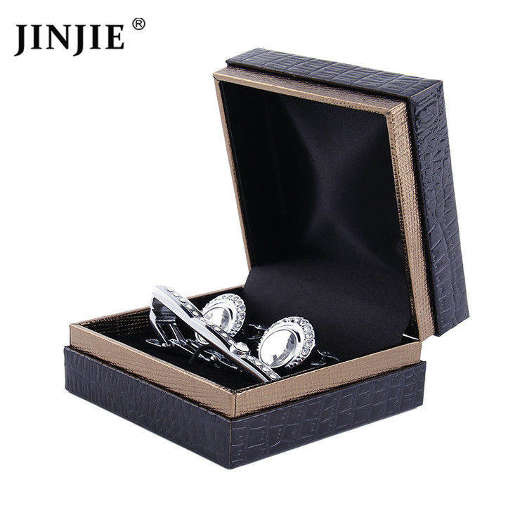 Latest stock black pu leather made business cufflink tie bar gift packing box wholesale online