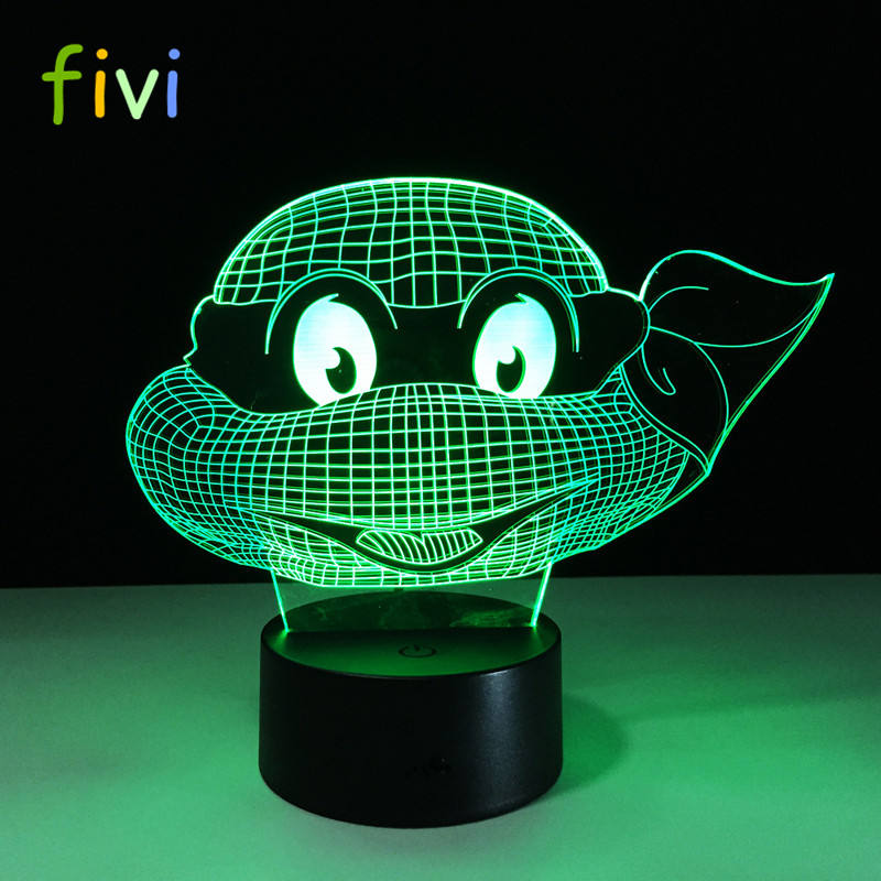 3D Touch Nightlight Kids Teenage Mutant Ninja Turtles New Year Gift for Kids 7 Colors Changing Turtle Night Light Lamps