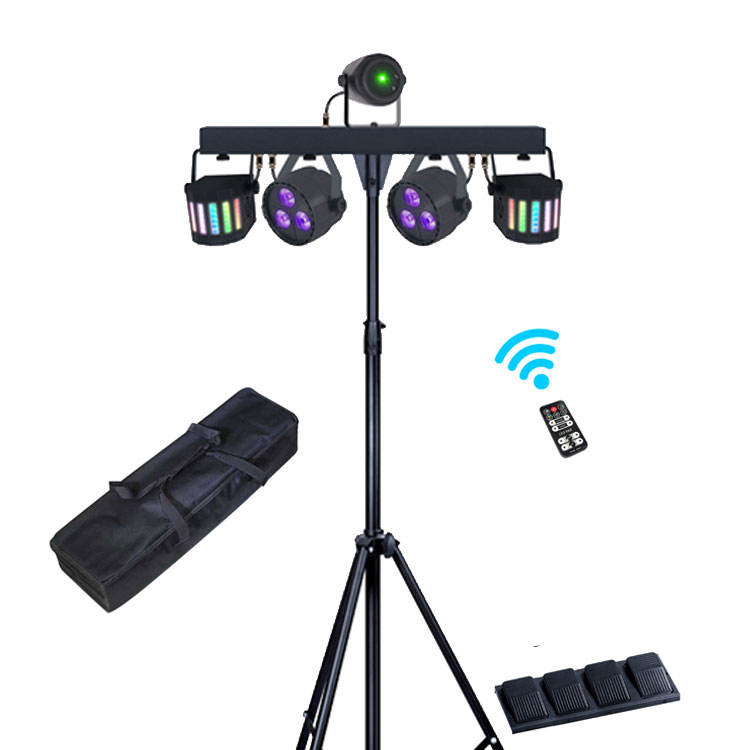 3-in-1 Par Light + Derby + Laser Multi-Effect Stage Light System Portable DJ Equipment with Carry Bag Wireless Footswitch