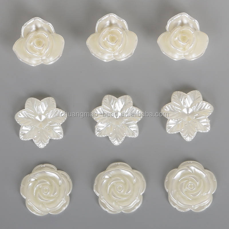 2018 ABS imitation flower shape half pearl all types of beads for clothes