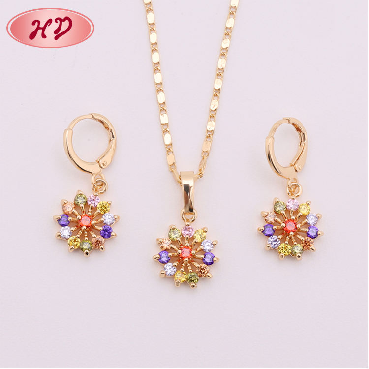 Ladies 2 Gram Gold Necklace Earring Set With Flower Design