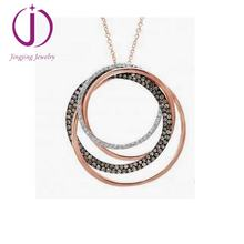 18k Gold Tri-Tone circles Pendant Necklace Glitter  Circles Necklace for women
