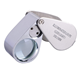 30X Full Metal Illuminated Jewelry Loop Magnifier, Pocket Folding Magnifying Glass Jewelers Eye Loupe with LED Light