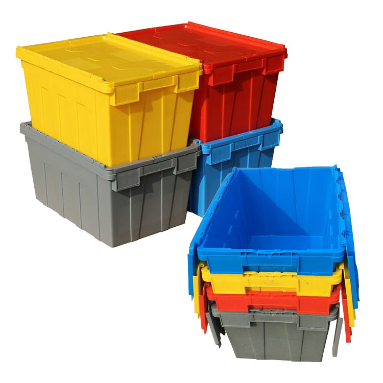 High hdpe crate quality stack and nest trunk square folding solid plastic moving shipping crate for