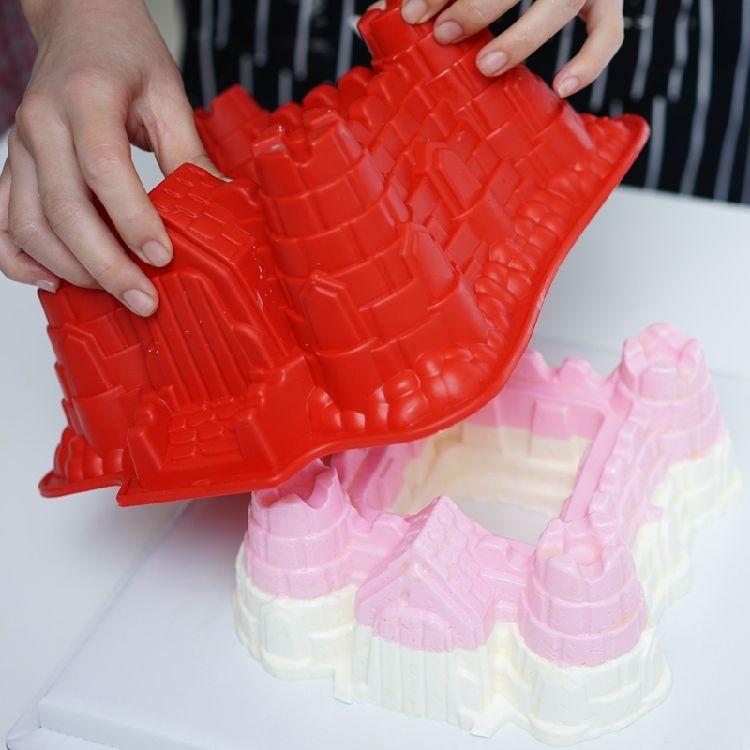 Castillo con forma de <span class=keywords><strong>casa</strong></span> libre de BPA, respetuoso del medio ambiente moldes de pastel de silicona