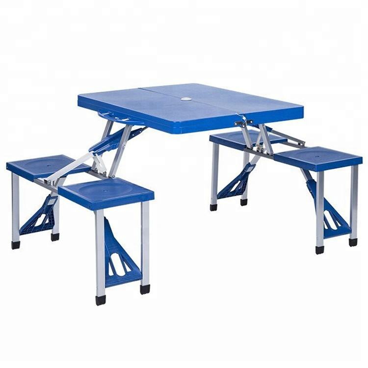Hot-sale Low Price Garden ABS 4 Seats Plastic Folding Table Aluminum Suitcase Picnic Dining Table