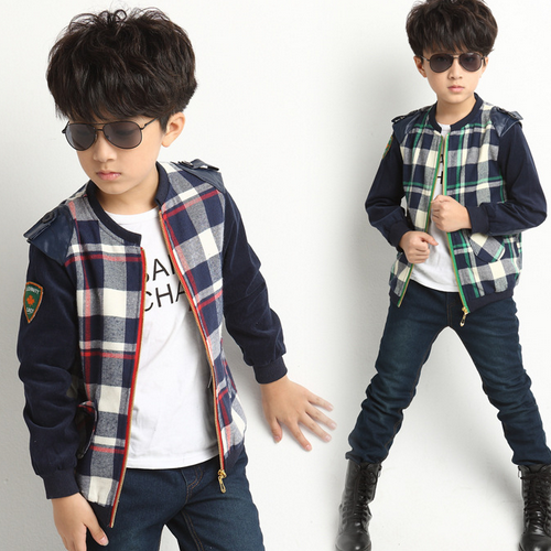 Wholesale fashion long sleeve children clothes winter/autumn warm splicing print grid young boys coat