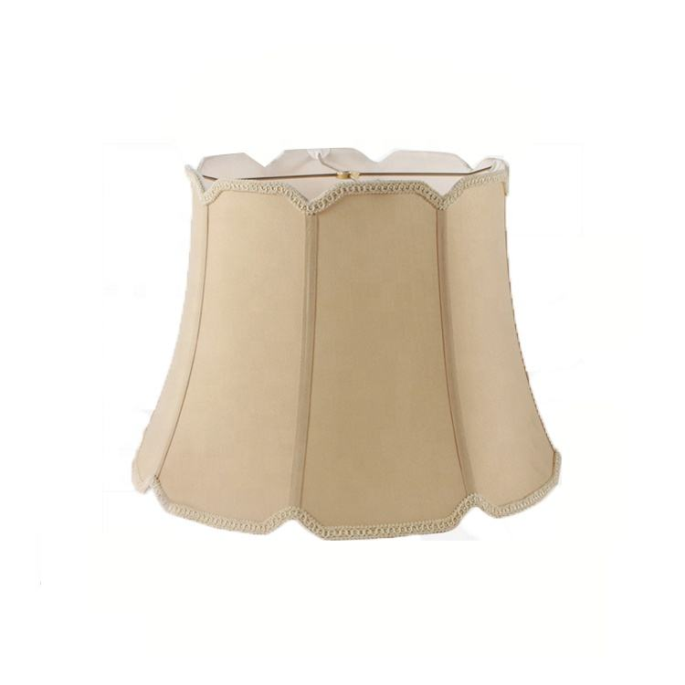 Providing sample,Metal Frame Beige Cloth Drum Shape Fabric Lamp Shade
