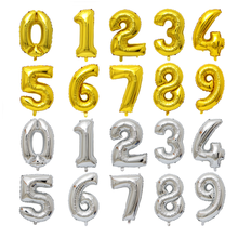 Wholesalers 16'' 32'' 40'' Silver Gold Color Helium Foil Numbers Balloons