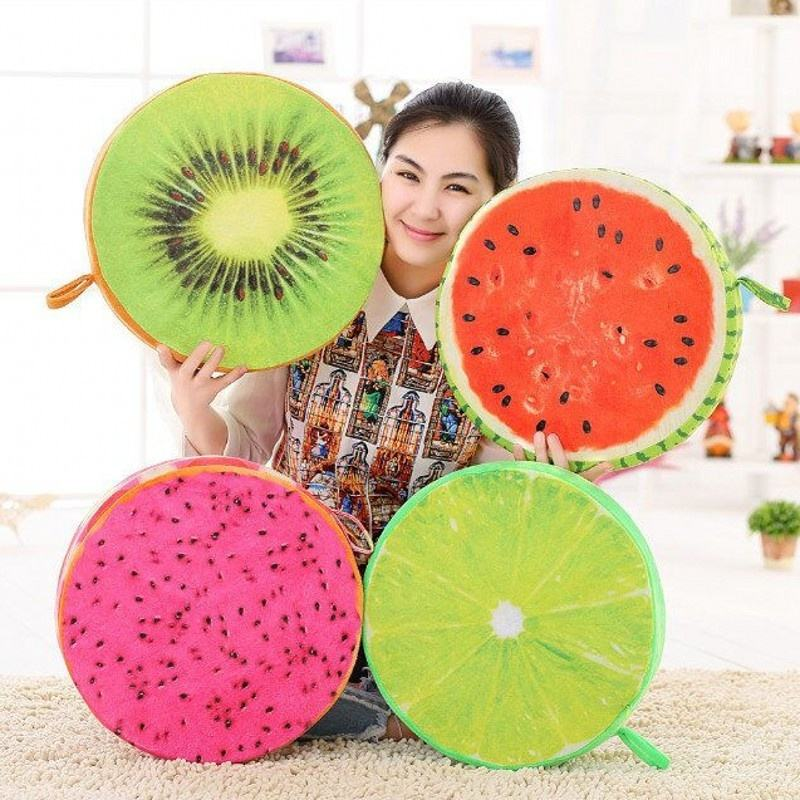 Wholesale 3D Fruit pattern round memory Foam Chair seat Cushion