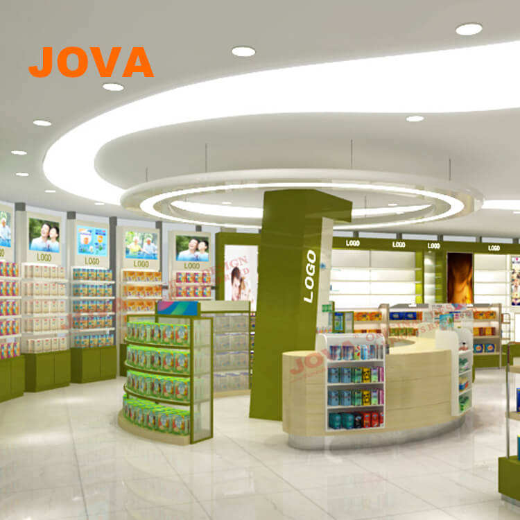 Hygienic Interior Showcase Designs For Store Decoration Medicine Shop Design