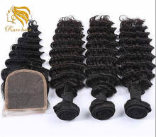 Lsy Wholesale Free Part/Middle Part/3Part Bundle Deals 3bundles With Lace Closure Deep Wave