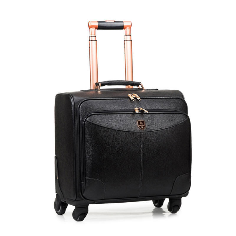 XBL Cow hide leather 16' POLO luggages suitcases genuine leather business luggage bag men