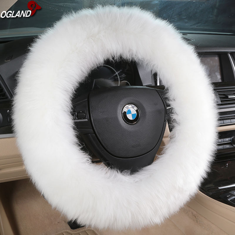 Long wool Sheepskin Steering Wheel Cover for Adults Woman Man Car Accessories by Fluffy Australian Natural Fur