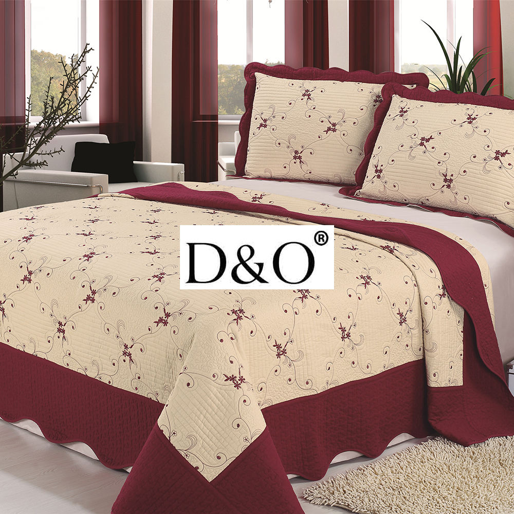 China Pujiang wholesale microfiber embroidered bed cover