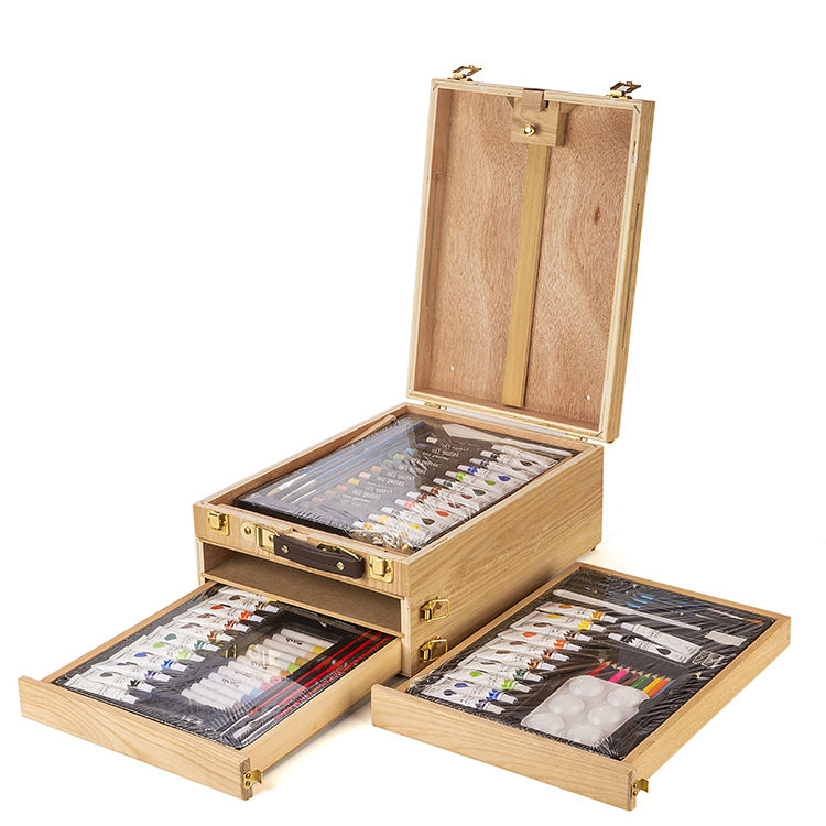 Vintage 94 pcs Wooden Box Painting Art Set With Easel drawing art set for Students